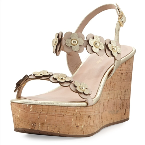 a20658dbf1793 kate spade Shoes - {7.5} Kate Spade Tisdale Flower Gold Cork Wedge